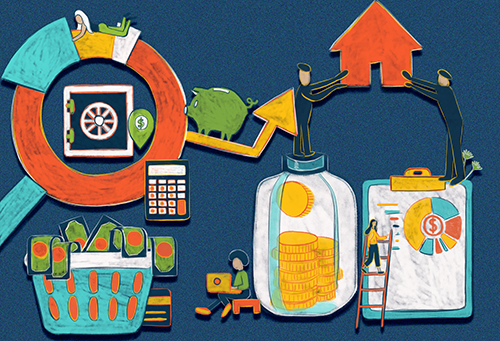 Abstract illustration depicting the various home buying processes.