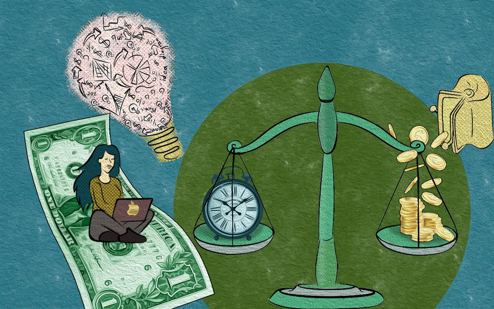 A woman with laptop sitting on a dollar bill that floats in the air like a flying carpet.  A light bulb with fragments of calculations. A weighing scales that weigh time and money.