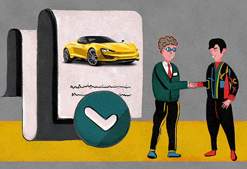 Two men shaking hands. A document with a drawn car on the backgroung.