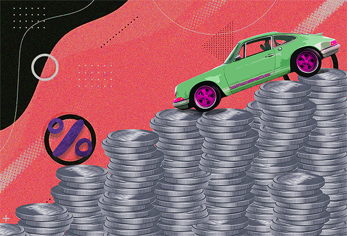 A car driving down on the mountain of coins.