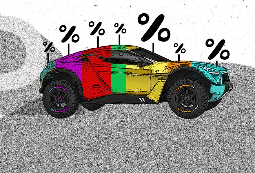 Illustration of a car painted based on the percentage of auto loan finance charge.